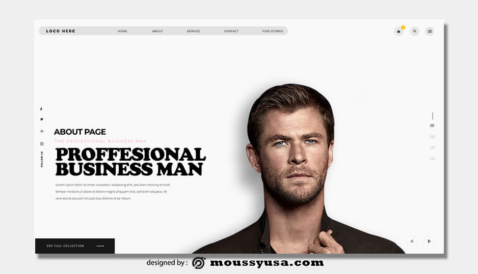 about page free download psd