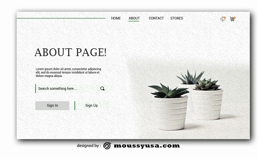 about page free psd template