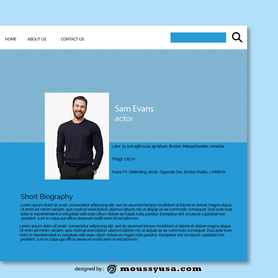 about page psd template free