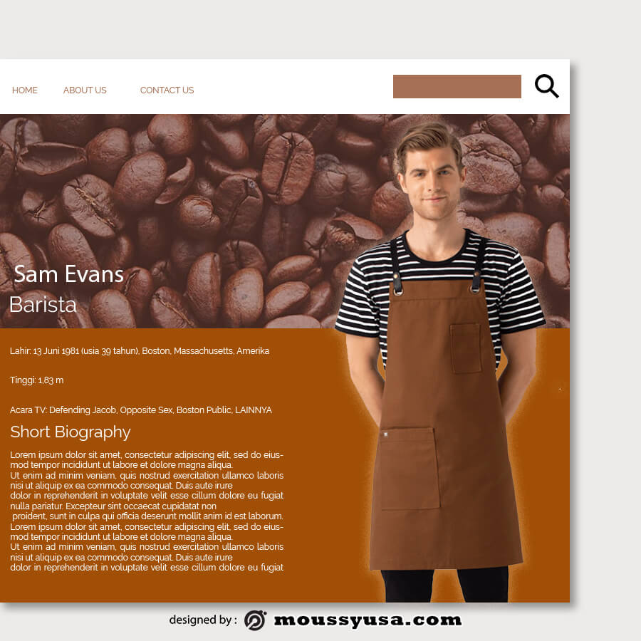 about page template for photoshop