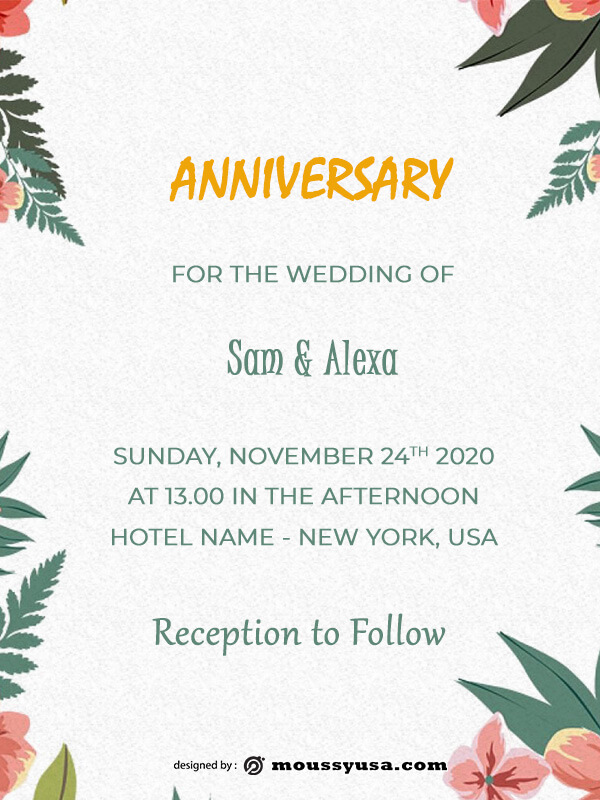 anniversary Card example psd design