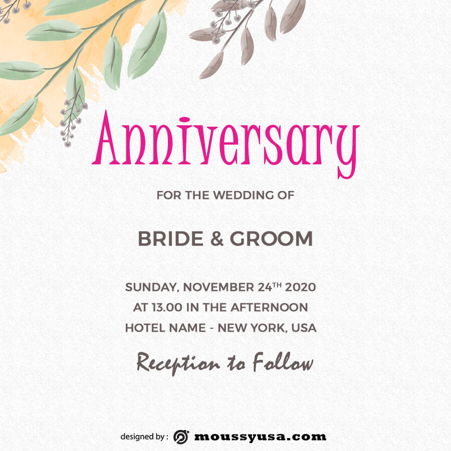 anniversary Card psd template free