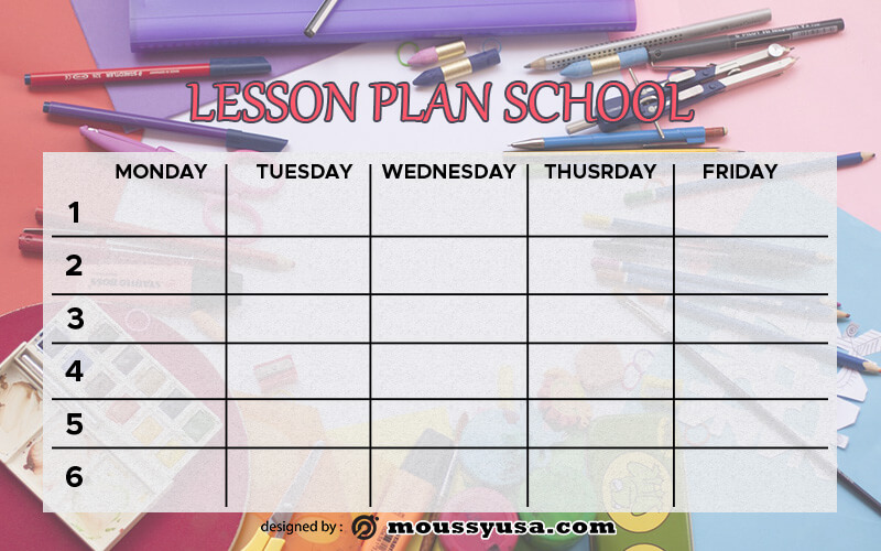 art lesson plan psd template free