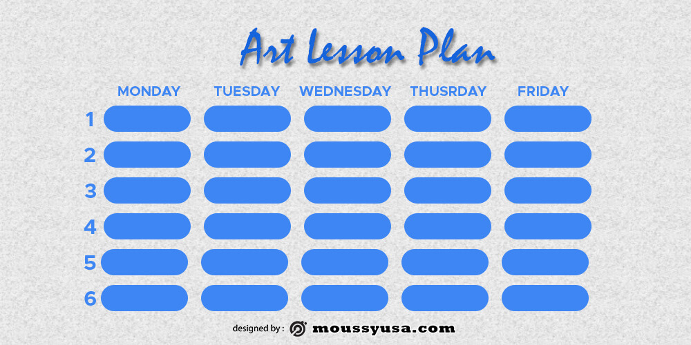 art lesson plan template for photoshop