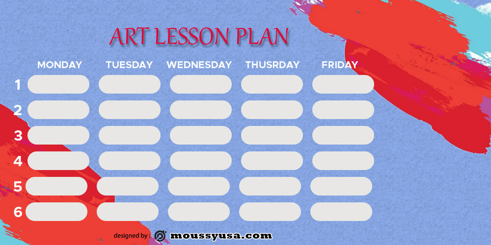 art lesson plan template free psd