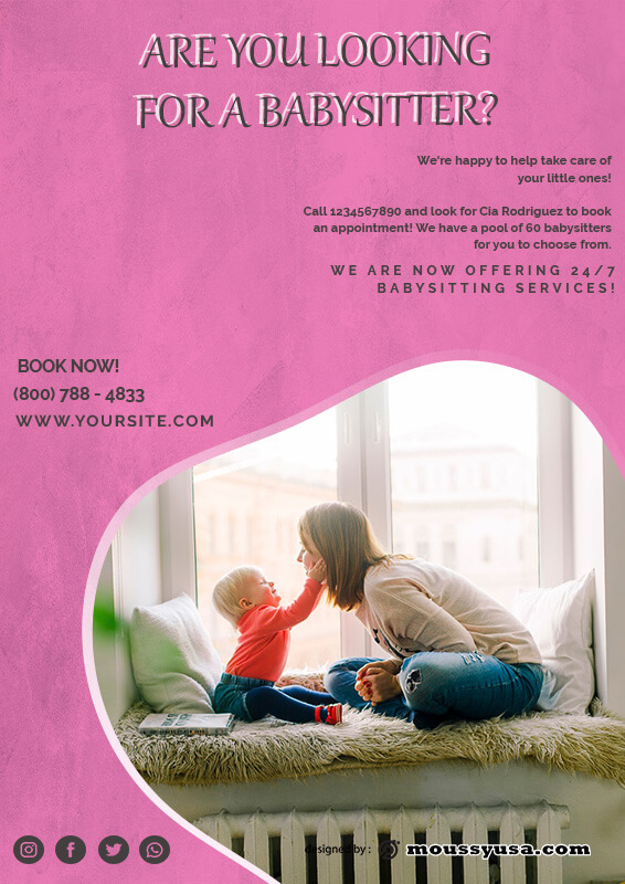 babysitting flyers customizable psd design template