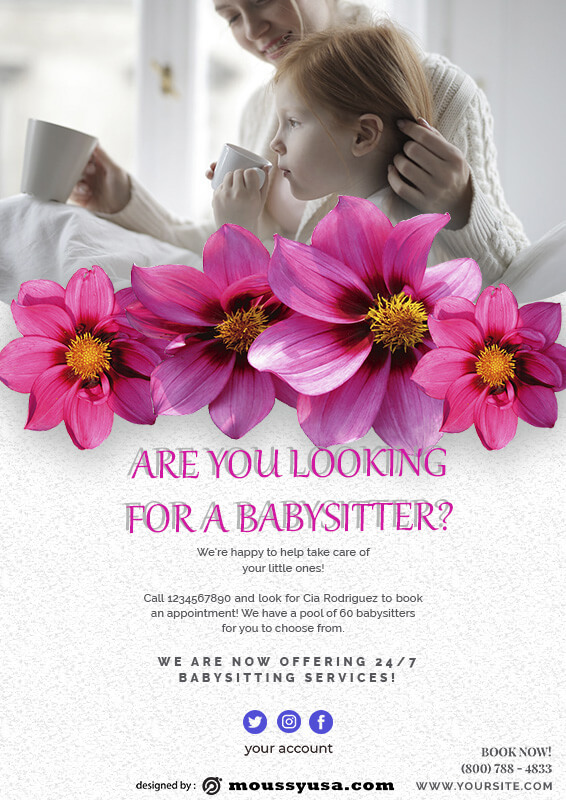 babysitting flyers example psd design