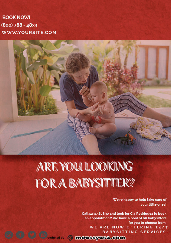 babysitting flyers free download psd