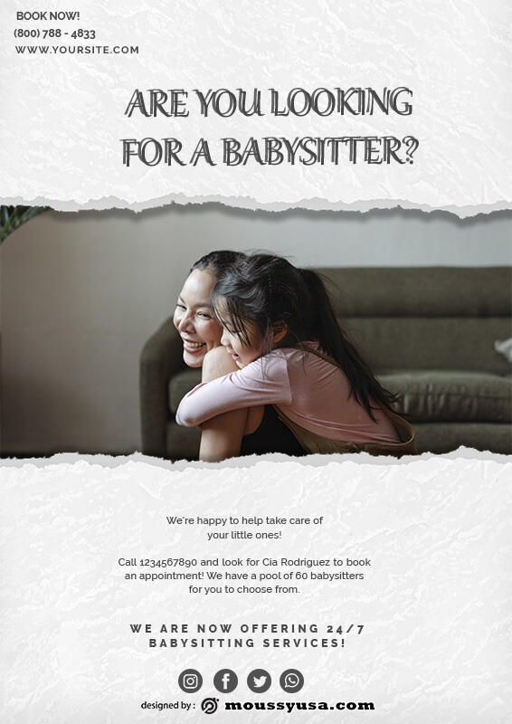 babysitting flyers free psd template