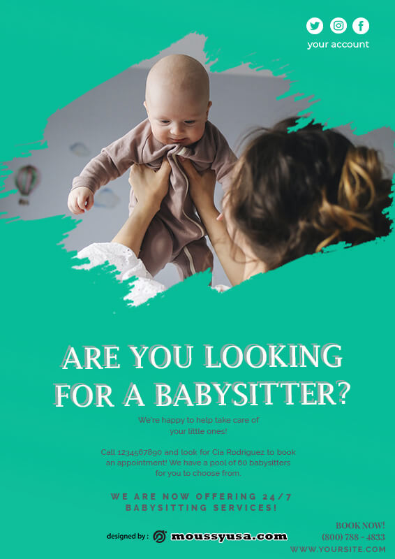 babysitting flyers in photoshop free download