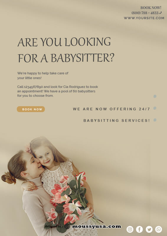 babysitting flyers in photoshop