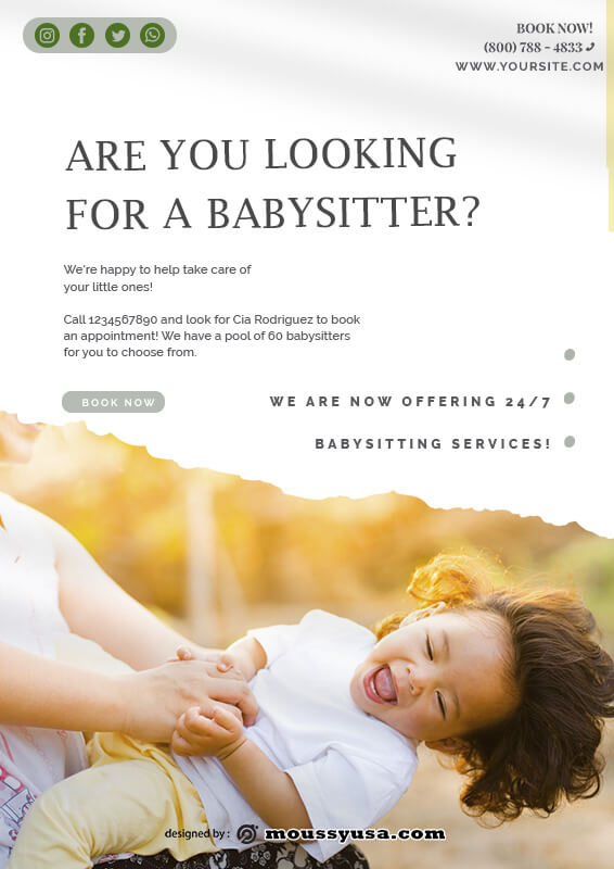 babysitting flyers psd template free