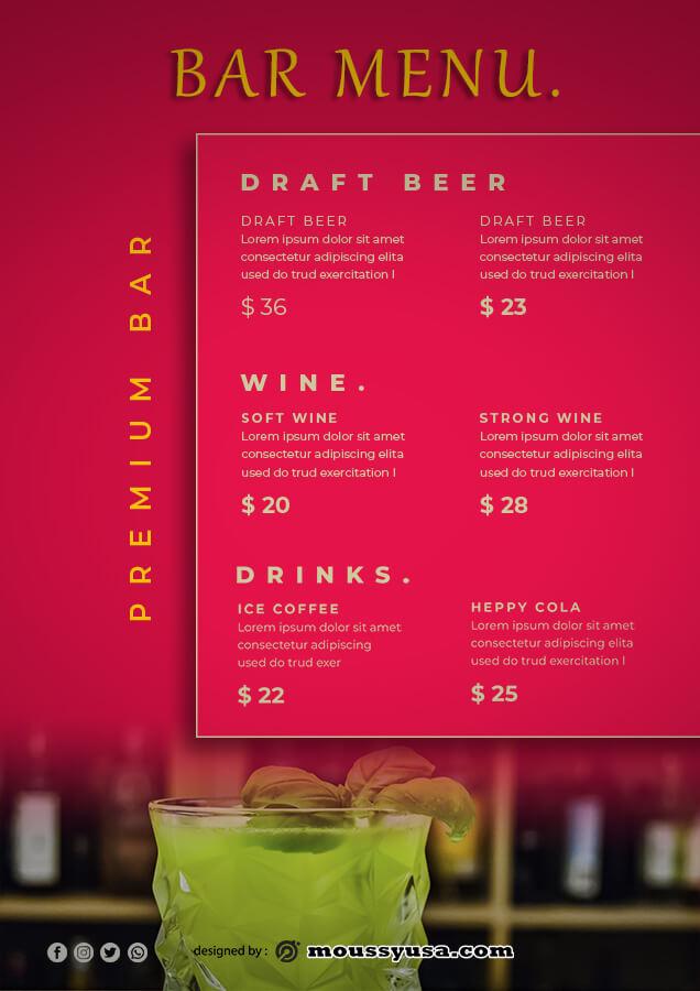 bar menu customizable psd design template