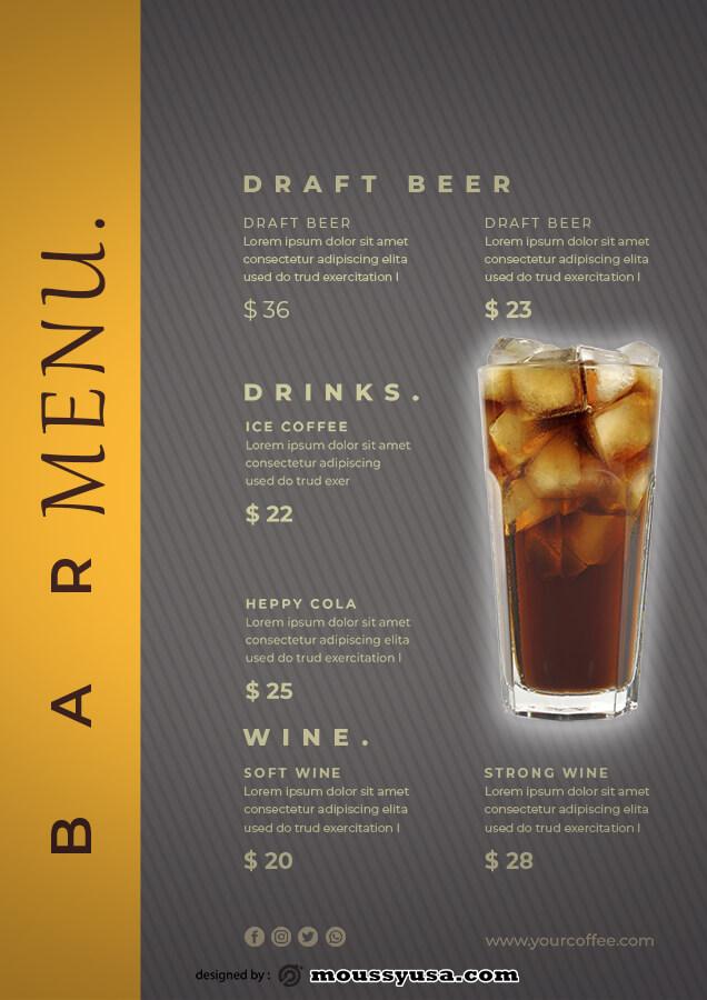 bar menu example psd design
