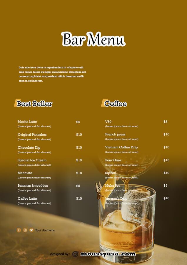 bar menu psd template free