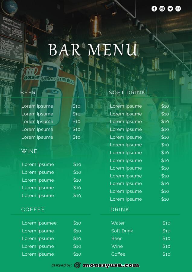 bar menu template for photoshop