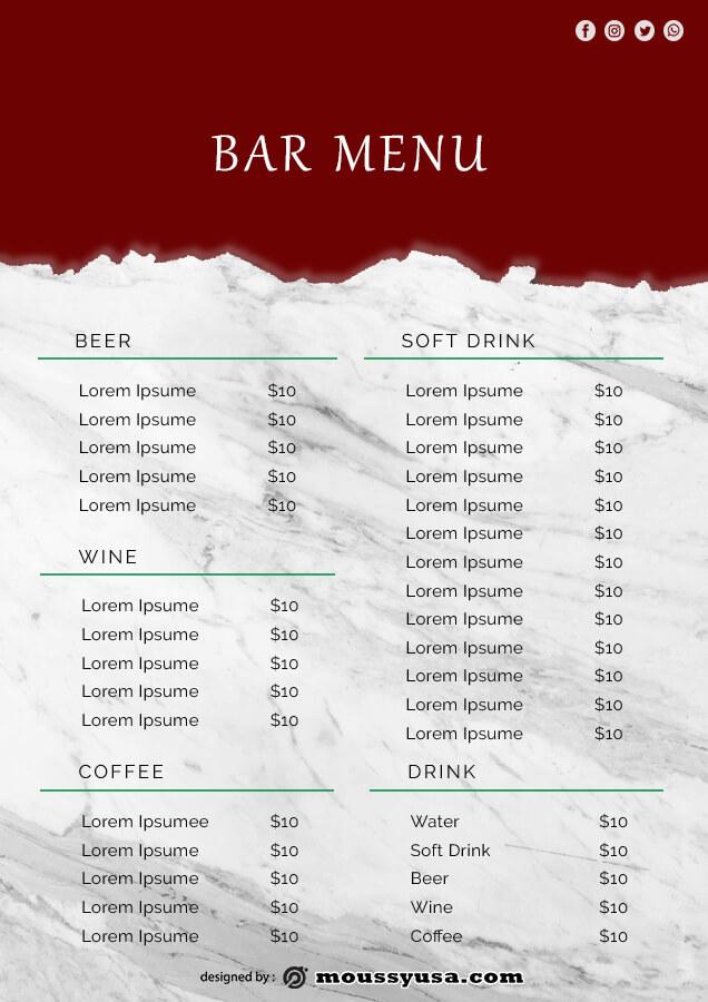 bar menu template free psd