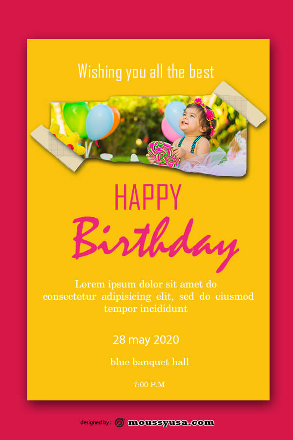 birthday card customizable psd design template