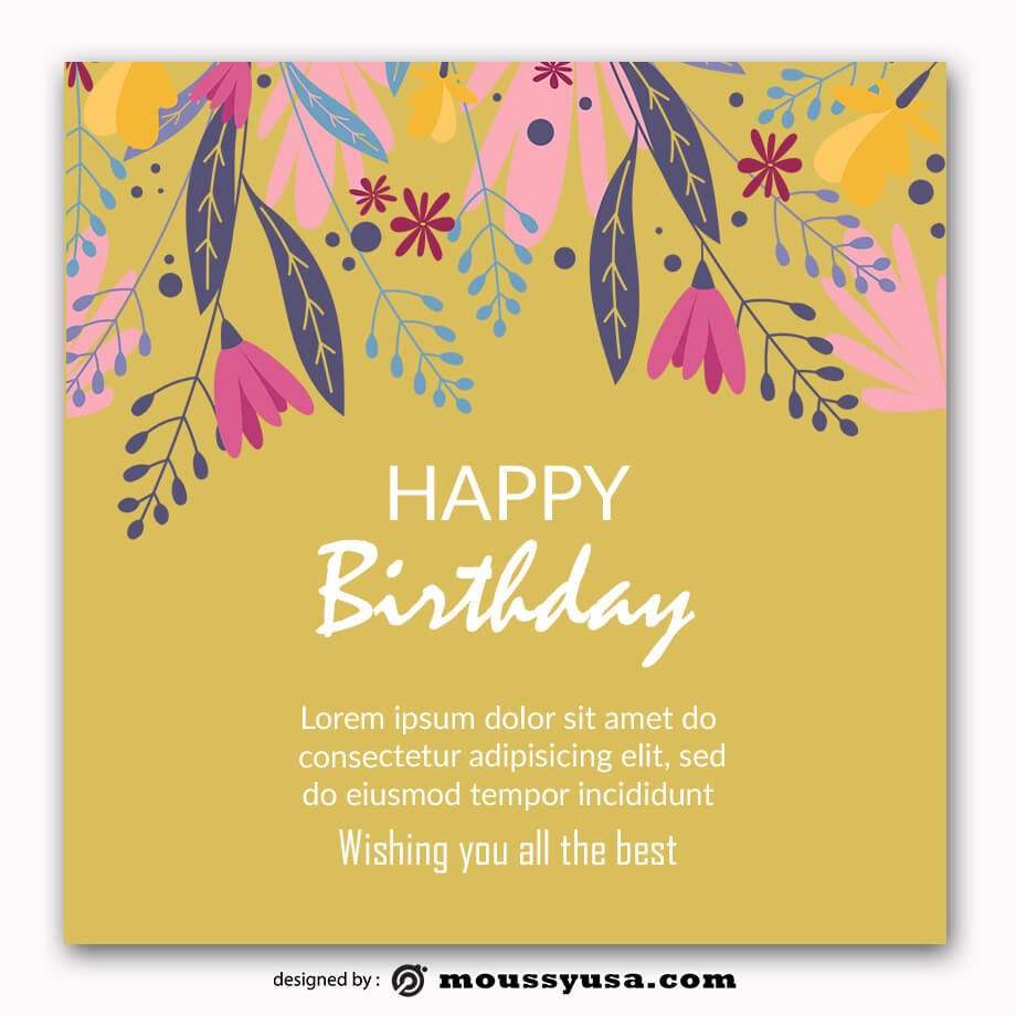 birthday card example psd design