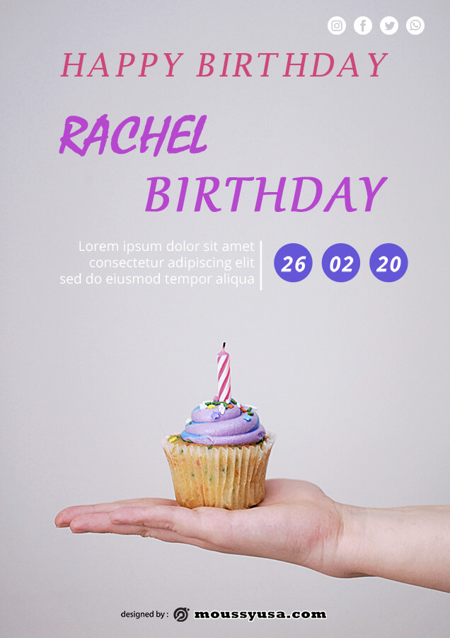 birthday flyer customizable psd design template