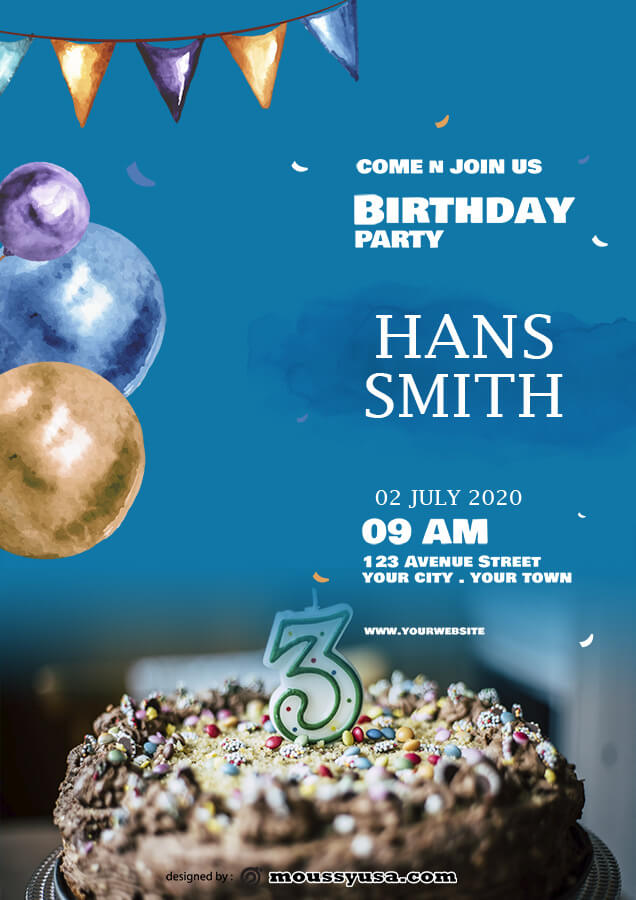 birthday flyer free psd template