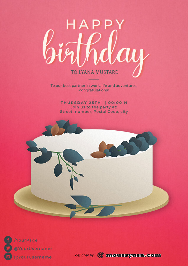 birthday flyer template free psd