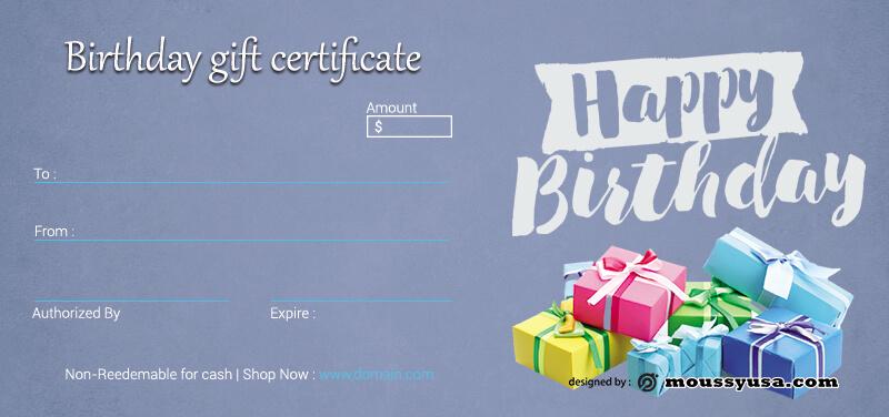 birthday gift certificate customizable psd design template