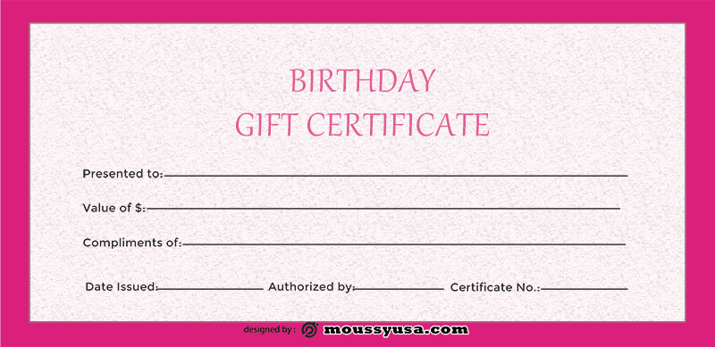 birthday gift certificate free psd template
