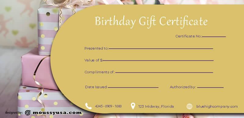 birthday gift certificate in psd design