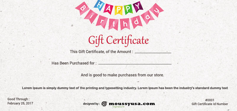 birthday gift certificate template for photoshop