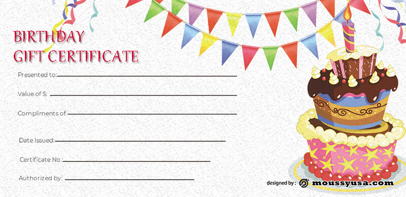 birthday gift certificate template free psd