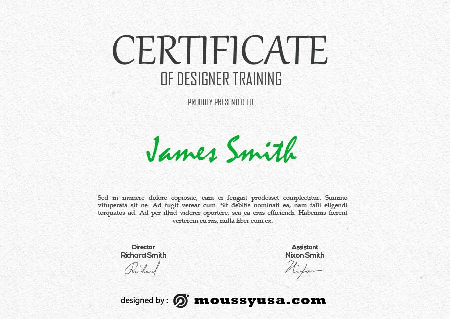 certificate design customizable psd design template