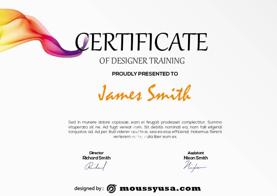 certificate design example psd design