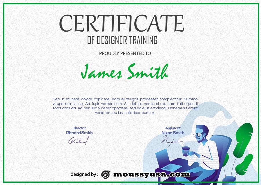 certificate design free psd template