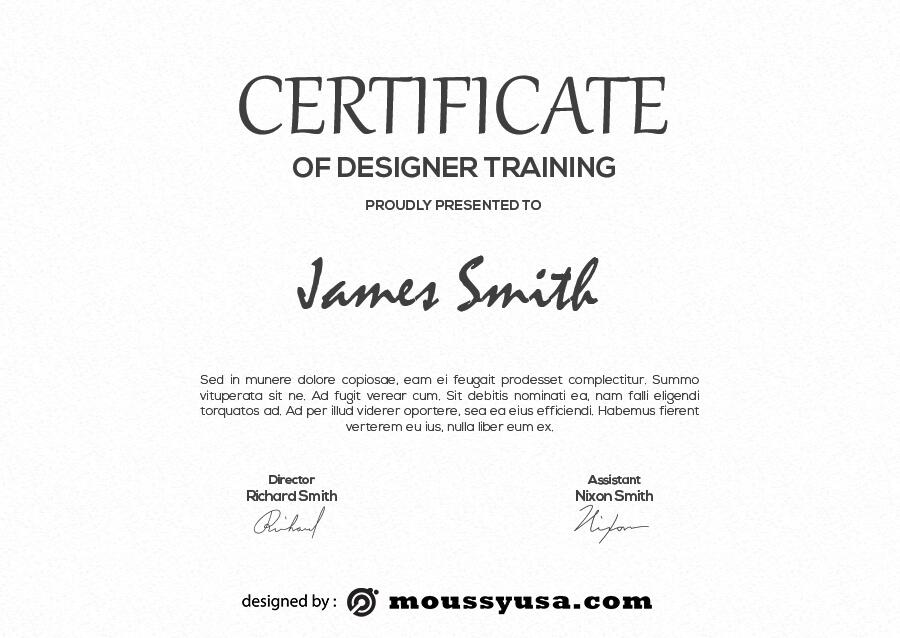 certificate design in psd design