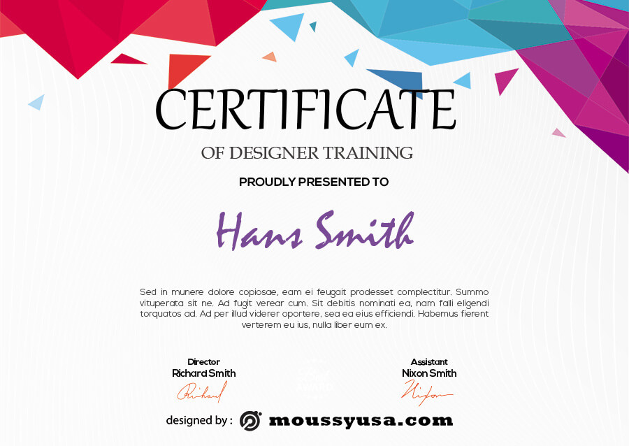certificate design psd template free
