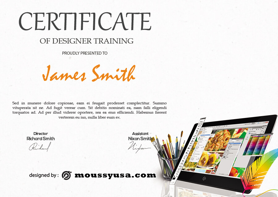 certificate design template for photoshop