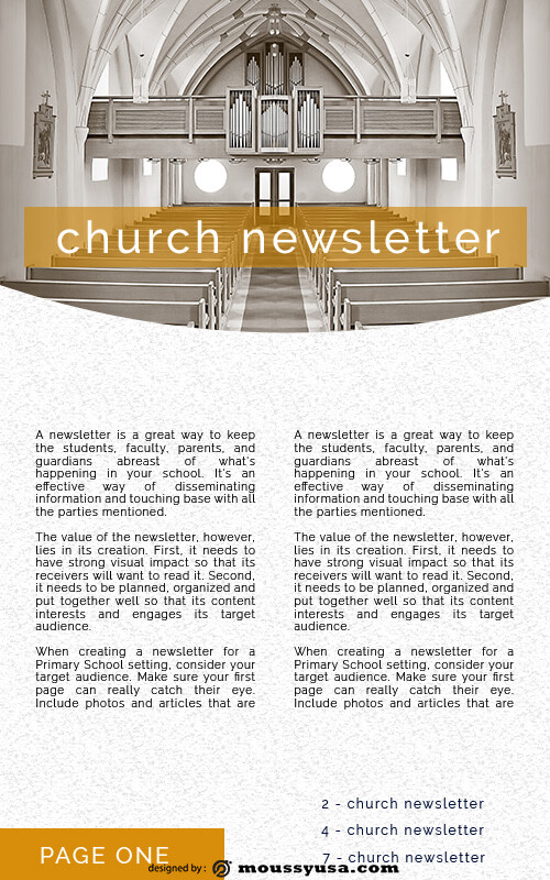 church newsletter example psd design