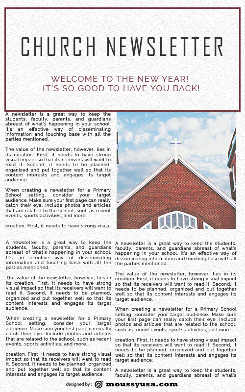 church newsletter free psd template