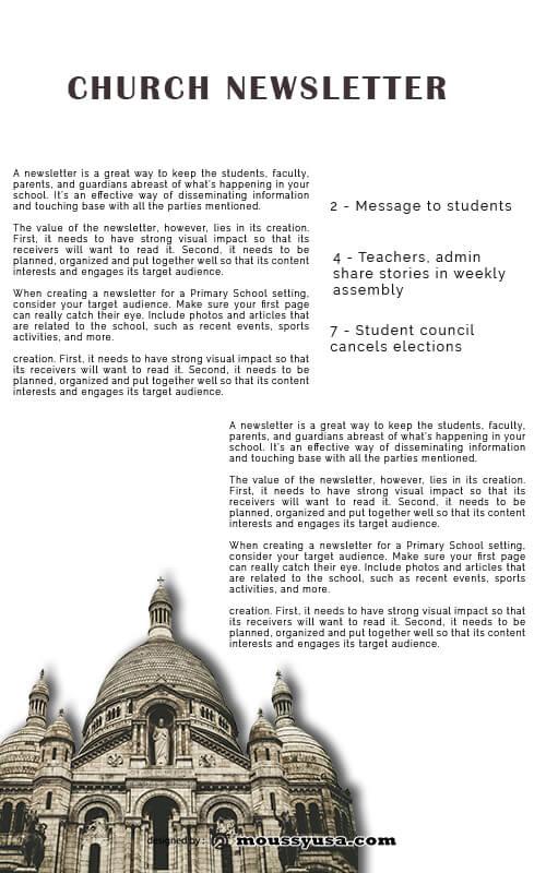 church newsletter in psd design