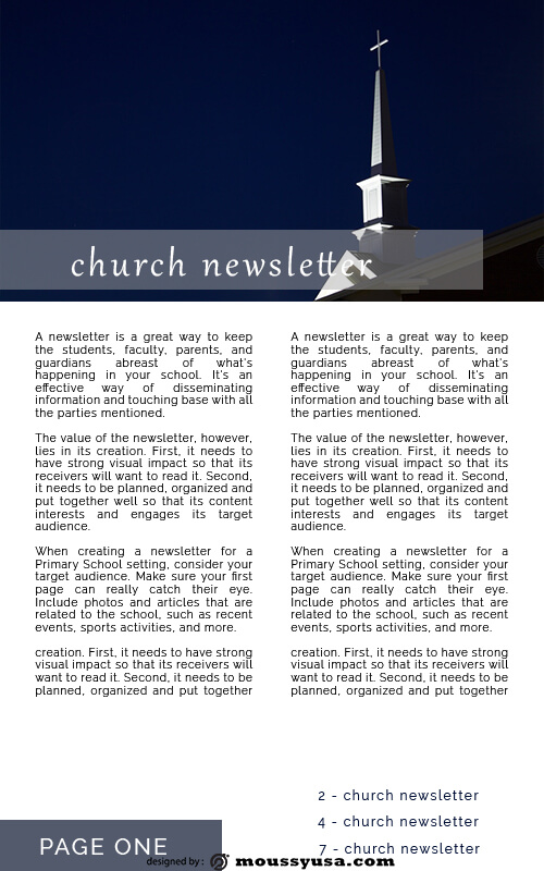 church newsletter psd template free