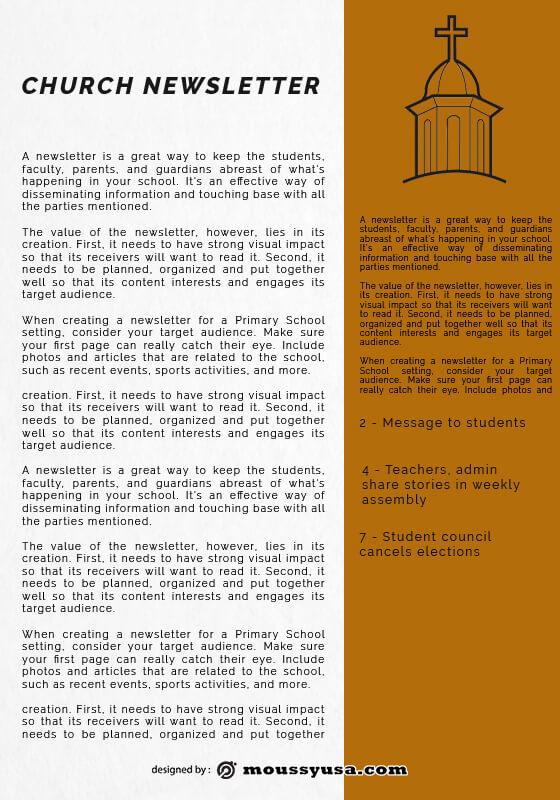 church newsletter template free psd