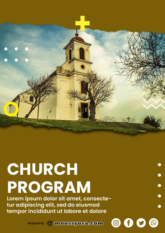 church program customizable psd design template