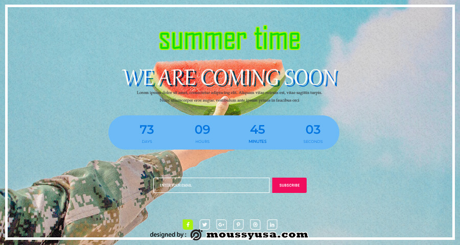 coming soon template free psd template