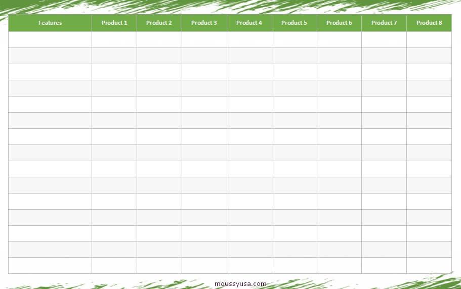 comparison chart example word design