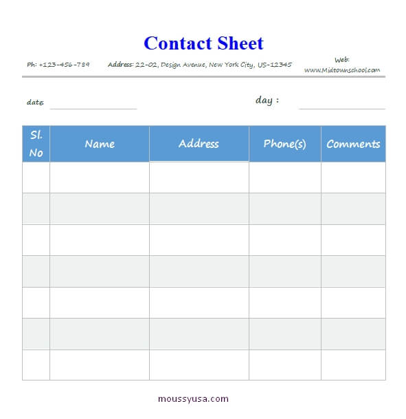 contact sheet free word template