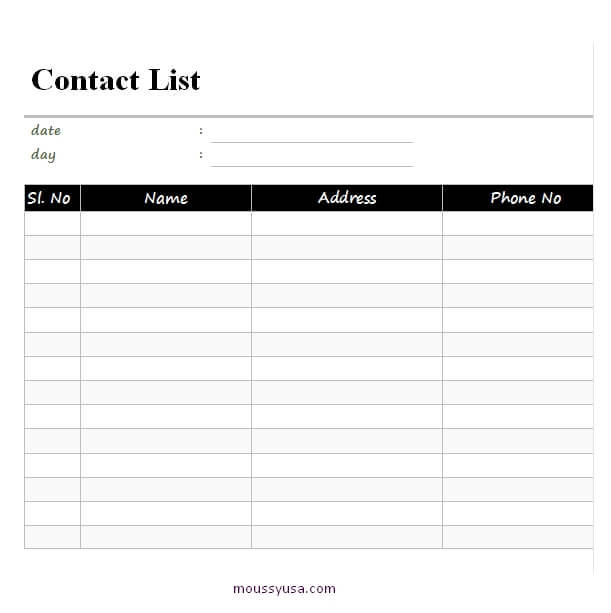 contact sheet template free word