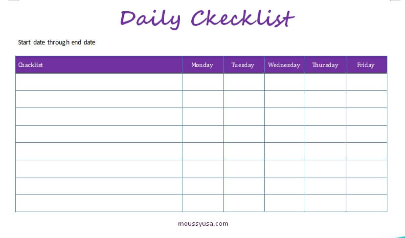 daily checklist free word template