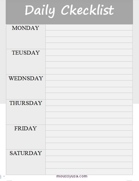 daily checklist in word free download