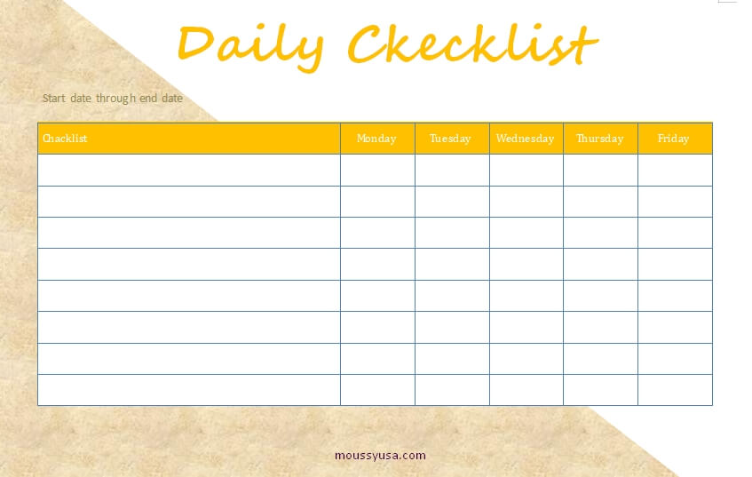 daily checklist template for word